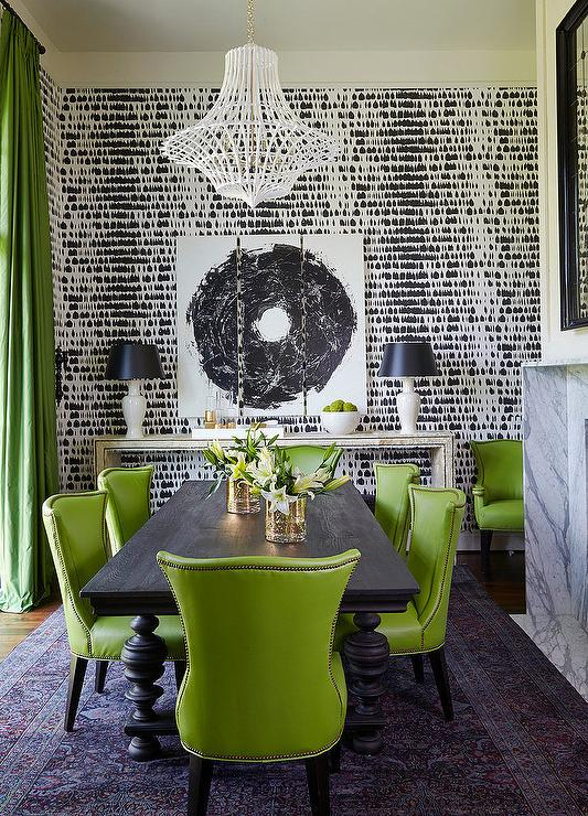 black-and-green-dining-room-green-leather-dining-chairs-green-silk