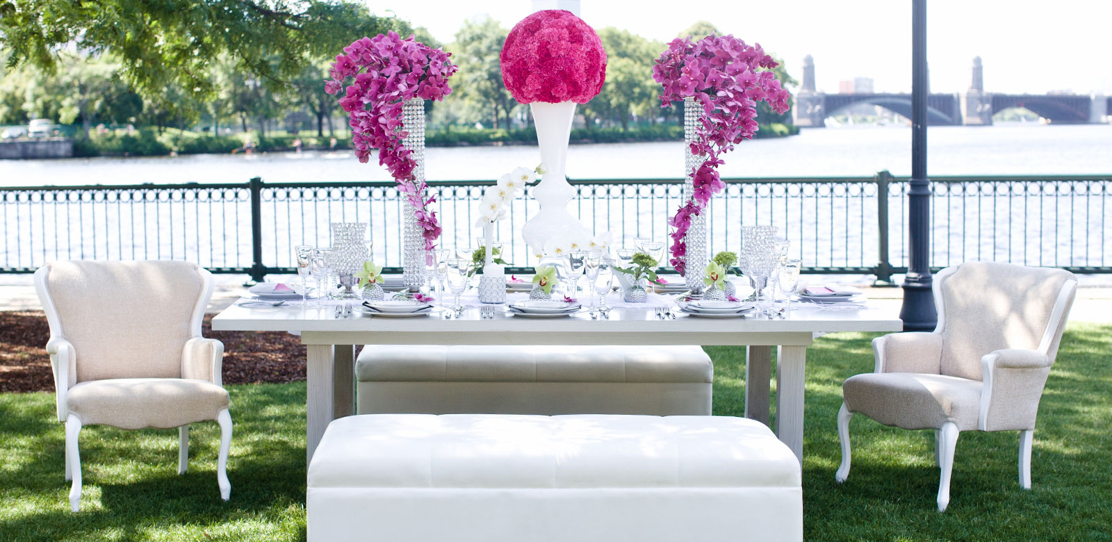 Table with Magenta Centerpiece