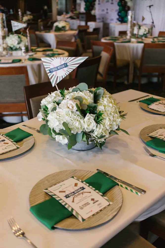 Green and White Baby Shower Flowers Sports Theme