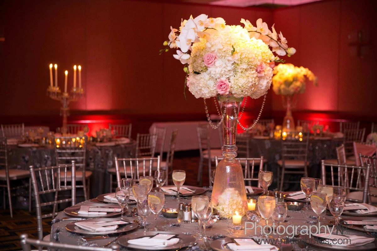 Orchid Hydrangeas Wedding Centerpiece