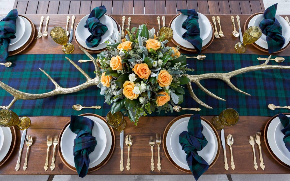 masculine-floral-tartan-orange-flowers