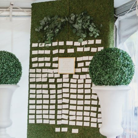flou(-e)r specialty floral events summer wedding flower inspiration green place card wall Servidone Studios Photography