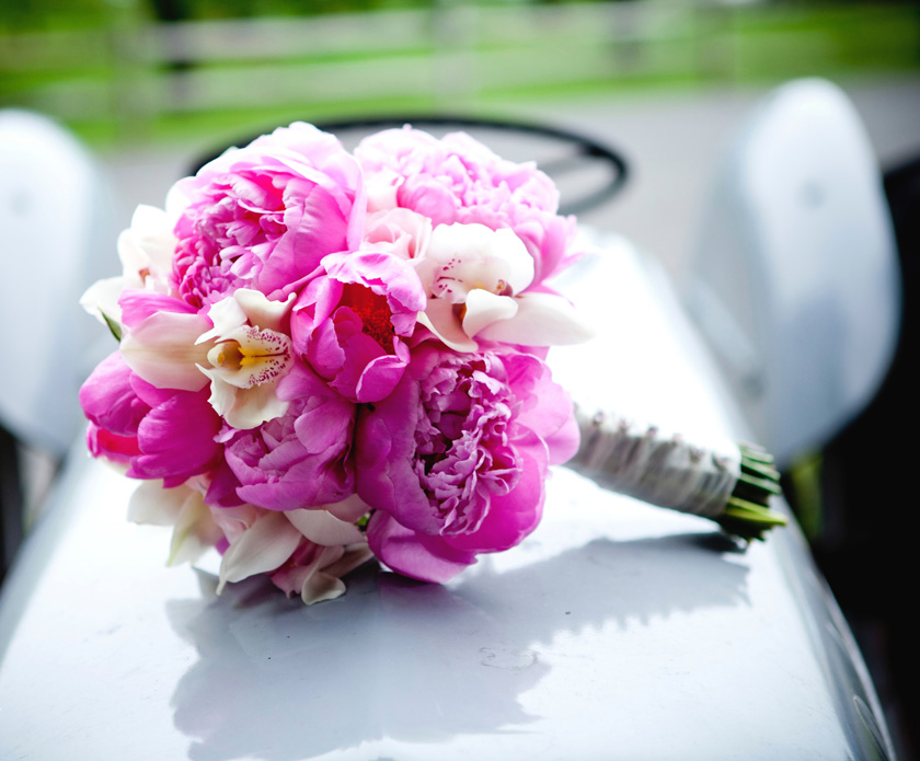 Bright Pink Peony Wedding Bouquet