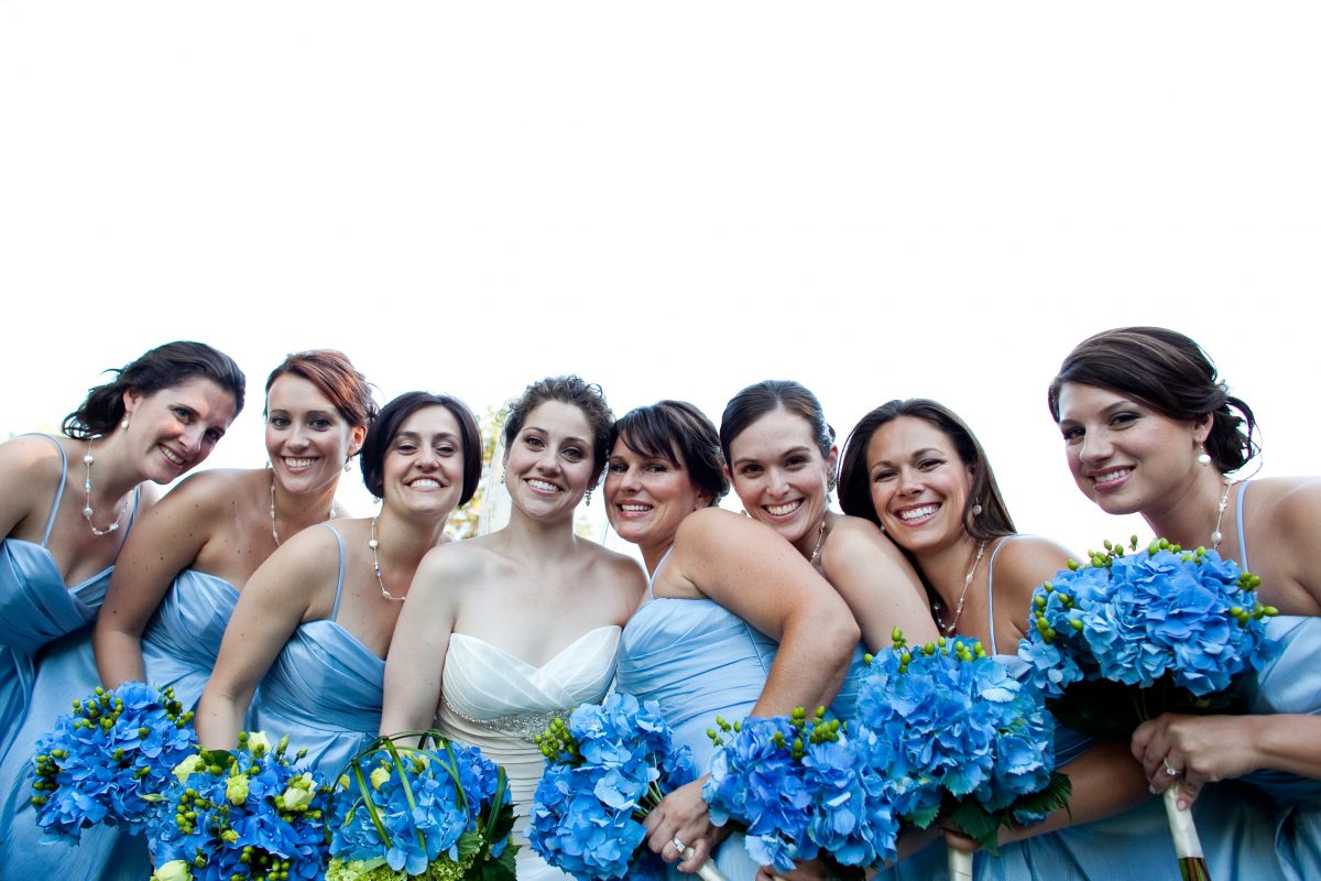 blue wedding flowers - hydrangea wedding flowers