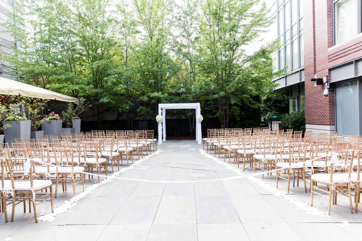 Modern White Wedding Chuppah at the Liberty Hotel in Boston